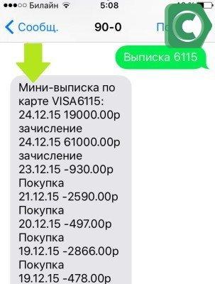 Формат мини-выписки на мобильном телефоне