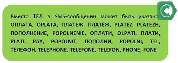 Варианты коротких команд для оплаты телефона