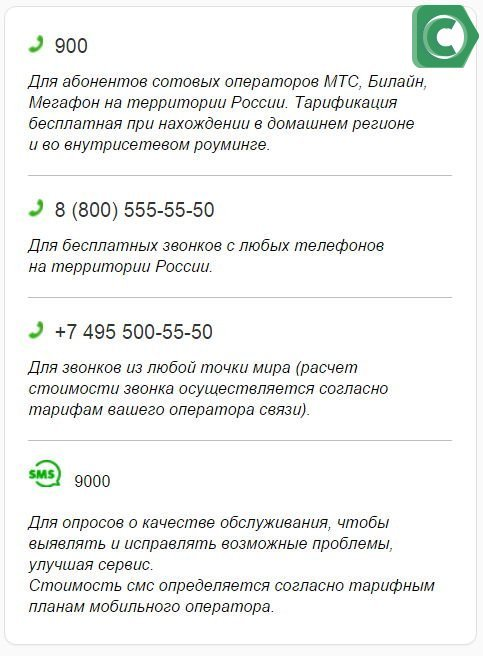 Телефон для получения счета карты