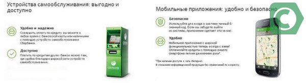Оплатить кредит можно через банкомат, мобильный банк или на кассе Сбербанка