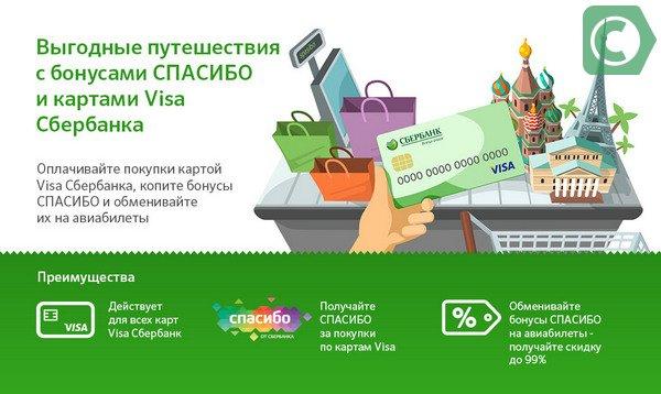 Оплата авиабилетов Спасибо от Сбербанка возможна бонусами накопленными на карт