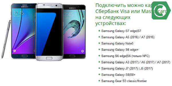Модели телефонов, поддерживающих сервис