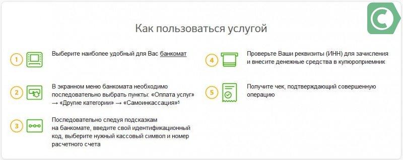 самоинкассация через банкомат сбербанка