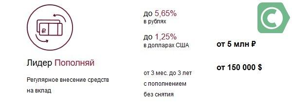 Наиболее удачные проценты указаны по предложению Лидер Пополняй