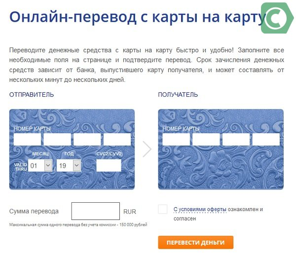 переводы на карту через сайт банка