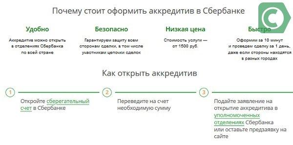 как открыть аккредитив сбербанк