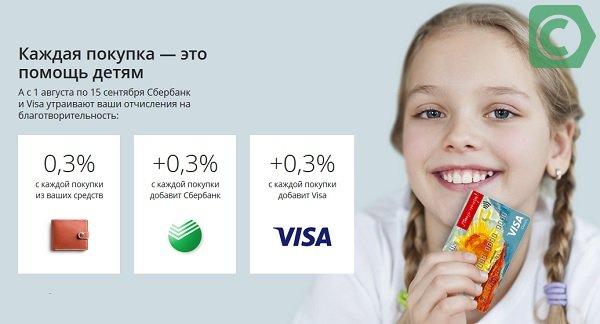 благотворительность сбербанк и виза